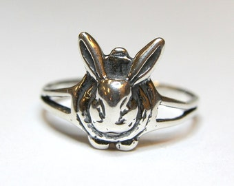 Two for One Sale....Rabbit Ring in Sterling Silver Bunny Rabbit Ring 214