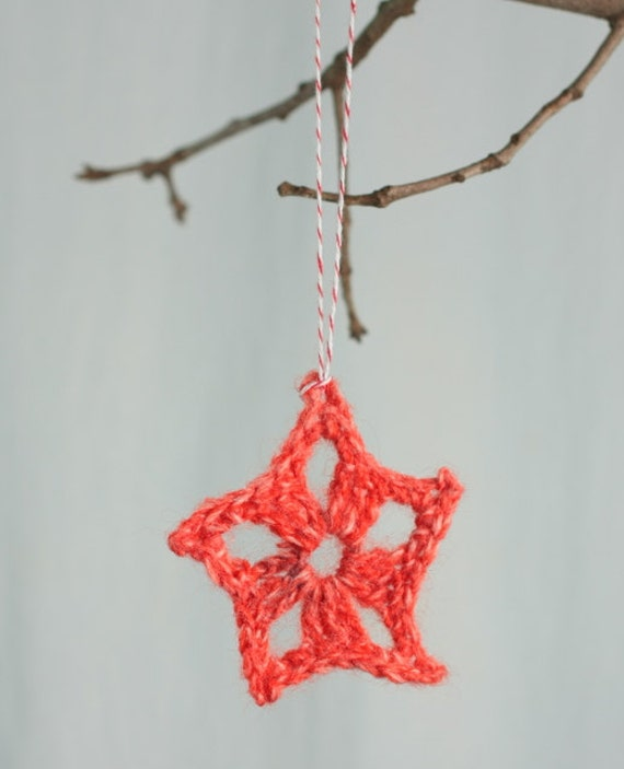 Christmas Star ornament, package tie ons, hand crocheted