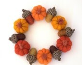Autumn fall wreath felted Pumpkins acorns Thanksgiving ornament candle ring Weddings gift handmade Christmas