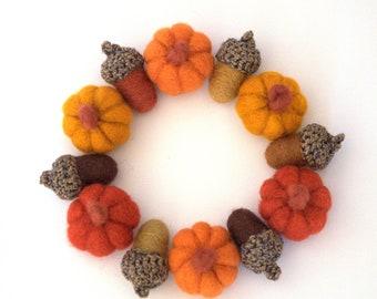 Autumn fall wreath felted Pumpkins acorns Thanksgiving ornament candle ring Weddings gift handmade Christmas