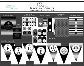 Glam Black and White Printable Party Decor Package and Invitation - Any Occasion