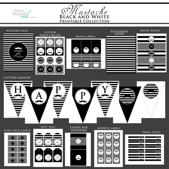 MUSTACHE Black and White Printable Party Decor Package and Invitation