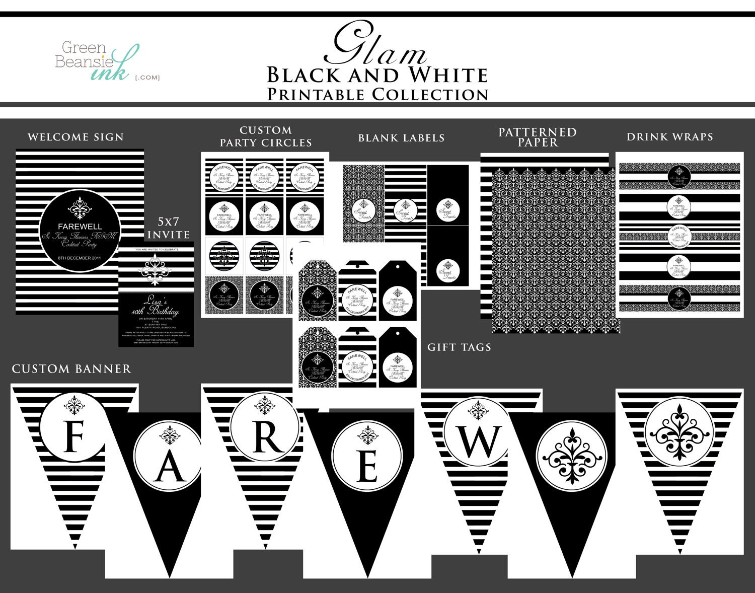 Glam Black and White Printable Party Decor Package and