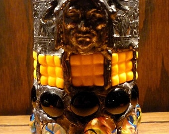 Native American Indian Stained Glass Mosaic Candle Holder