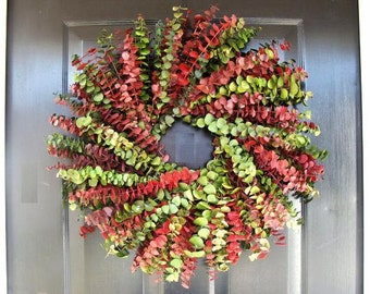Red Green Eucalyptus Christmas Wreath, Eucalyptus Holiday Gift, Front Door Decor  XL 24 inch