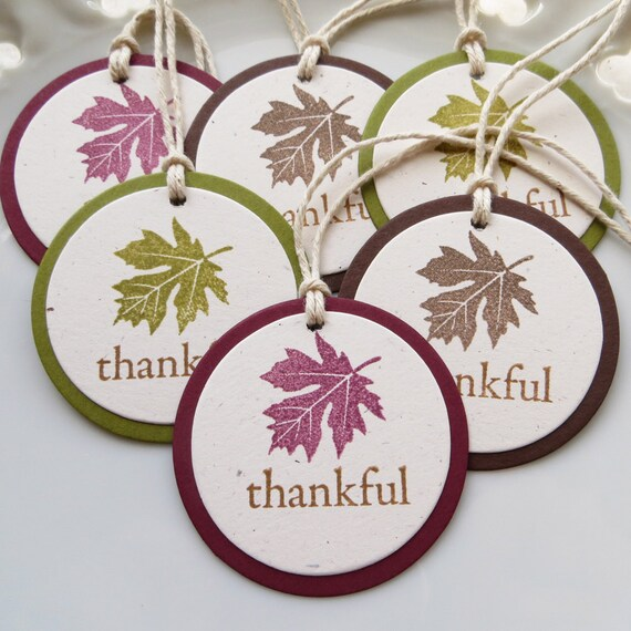 Thankful Leaf Tags - Set of 6 - Gift Packaging Thanksgiving Leaf Decor Fall Party Decoration Fall Leaf Tags