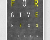 20% off- Forgiveness Frees, 8 x 10 Inspirational Wall Art Print, Yellow
