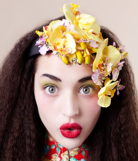 "Cutie Pie Banana Orchid Headpiece ""The Clara Miranda"""