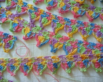 Lacy Crochet Edging Bright Colors Vintage 6 yd X 1-1/8 Trim Project Ready