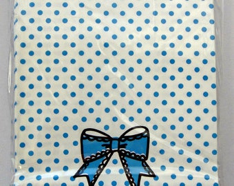 "Cute ""Just For You"" Japanese Paper Gift Bags / Party Bags With Blue Polka Dots And Bow - Comes With Sticker Seals"