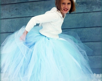 Winter Faerie - White and Light Blue Long Tulle Skirt - Sewn tutu  - Made to order - for portraits, holidays, flower girls, weddings, frozen