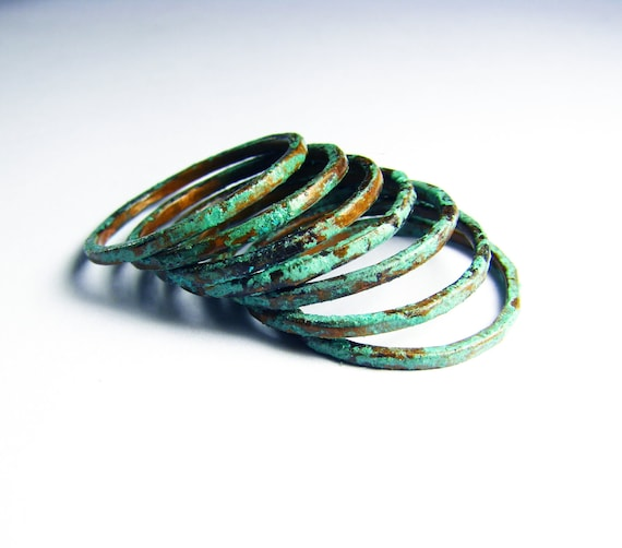 Patina Stacking Rings - SEVEN patinated rings - Hammered -  Green Patina finish - Sealed - Copper Jewelry -  jewelery made in Austin, Tx