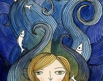 Tangled Hair, Fish in Waves - Illustration Art Print, Watercolor Painting - 5x7