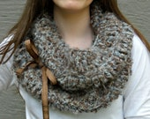 Stoney Grey Loop Scarf with Cocoa Brown Ribbon