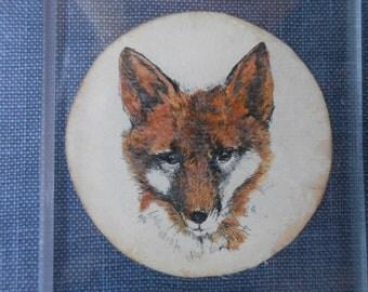 Fox Glass Door Plate / Vintage Fox Glass Door Plate / Vintage Fox Hunt Door Plate