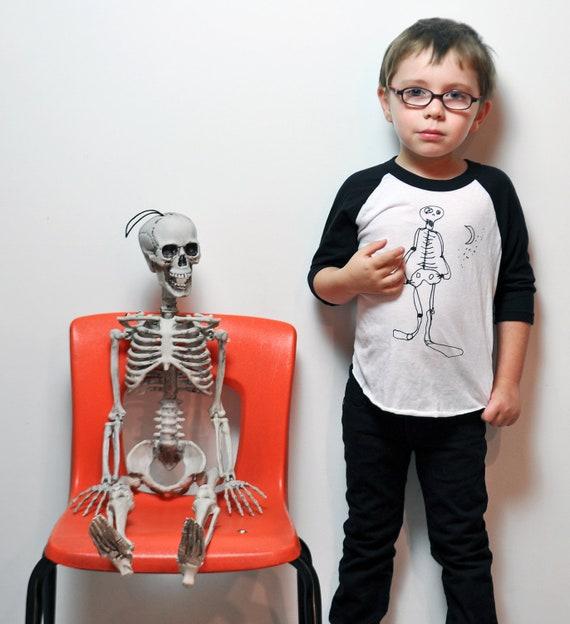 Skeleton 3/4 Raglan Sleeve Tee- Black & White (Youth)