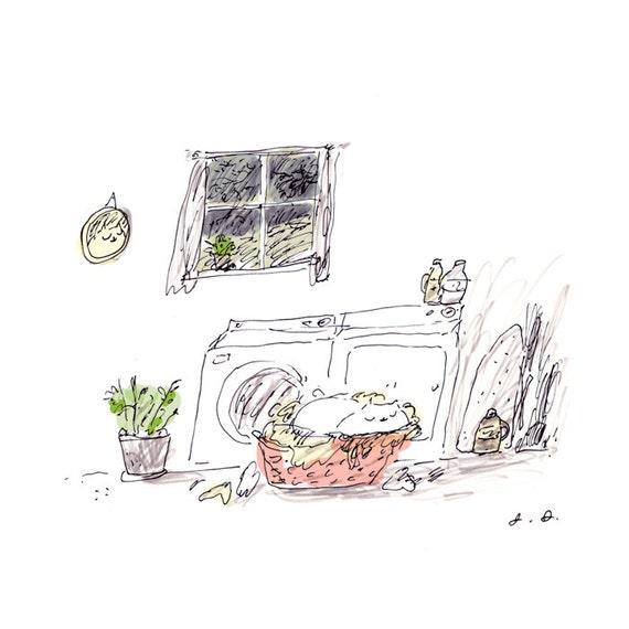 Laundry Room Art - Cute Cat Print - Cat Illustration - Cat Mom