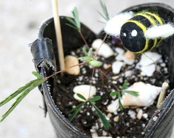Bee - Handmade out of 100% Wool Needle Felted Hand Felt Soft Sculpture Bumble Bee Yellow Black Bees - One - READY TO SHIP
