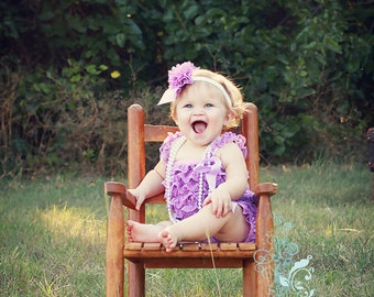 Headband and Romper Set Lilac Lace Romper with Shoulder Straps and attached Bow