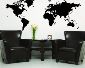 Vinyl Decal World Map  wall decals vinyl lettering sticker home decor