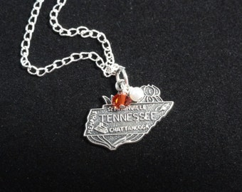 Tennessee Volunteers Necklace- Vintage Sterling Silver Tennessee Map Charm Pendant w/ Orange & White Beads- University of Tennessee Necklace