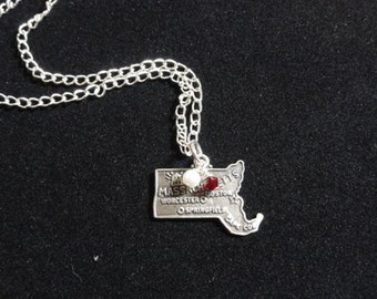 Massachusetts Minutemen Necklace, Massachusetts State Map Sterling Silver Charm, Red & White Beaded Pendant Necklace
