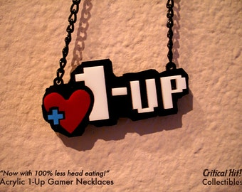 Acrylic 1-Up Necklace - Video Game Jewelry geek pendant retro zelda mario life