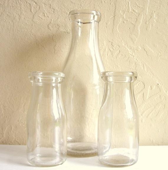 Vintage Clear Glass Milk Bottles Trio Great Vases 3 Three