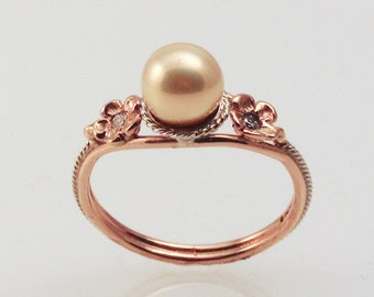 Pink Pearl Filigree Ring - in 14K rose gold