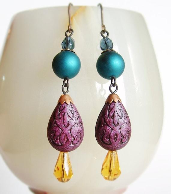 Teal Plum Beaded Earrings Long Vintage Bead Dangles Purple Blue Amber Victorian Jewelry