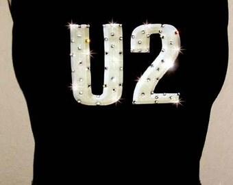 U2 Band Concert Crystal Rhinestone Tee Shirt Tank Top Glamour Glamour Rocks