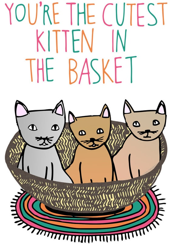Greeting Card - You're the cutest kitten in the basket