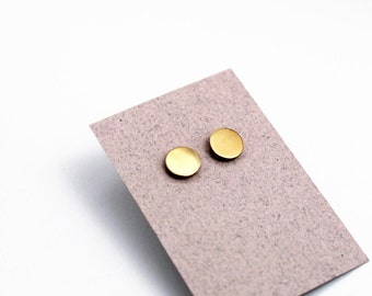 Geomeric stud earrings - gold color - minimalist, modern round polished brass jewelry