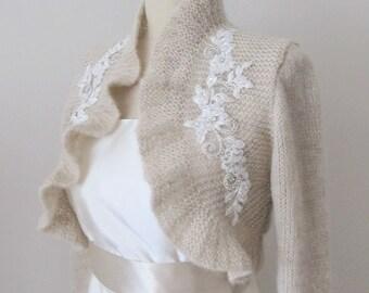 Champagne Knitted Knitting Bridal  Ruffle Bolero Rhinestone Crystal Beaded Lace 3/4 sleeve Wedding  Wrap Capelet