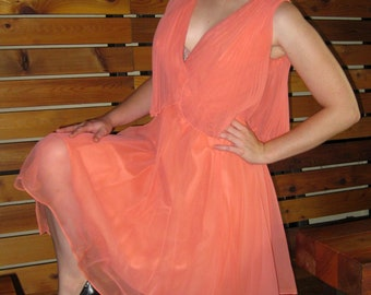 1960s Coral Pleated Chiffon Party Dress