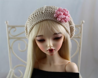 """Tan Crochet Hat MSD BJD Minifee Beret MNF 1/4 Dollfie 7-8 Wig 7"""" Head Casual Mori Style Ball Jointed Doll Clothes"""