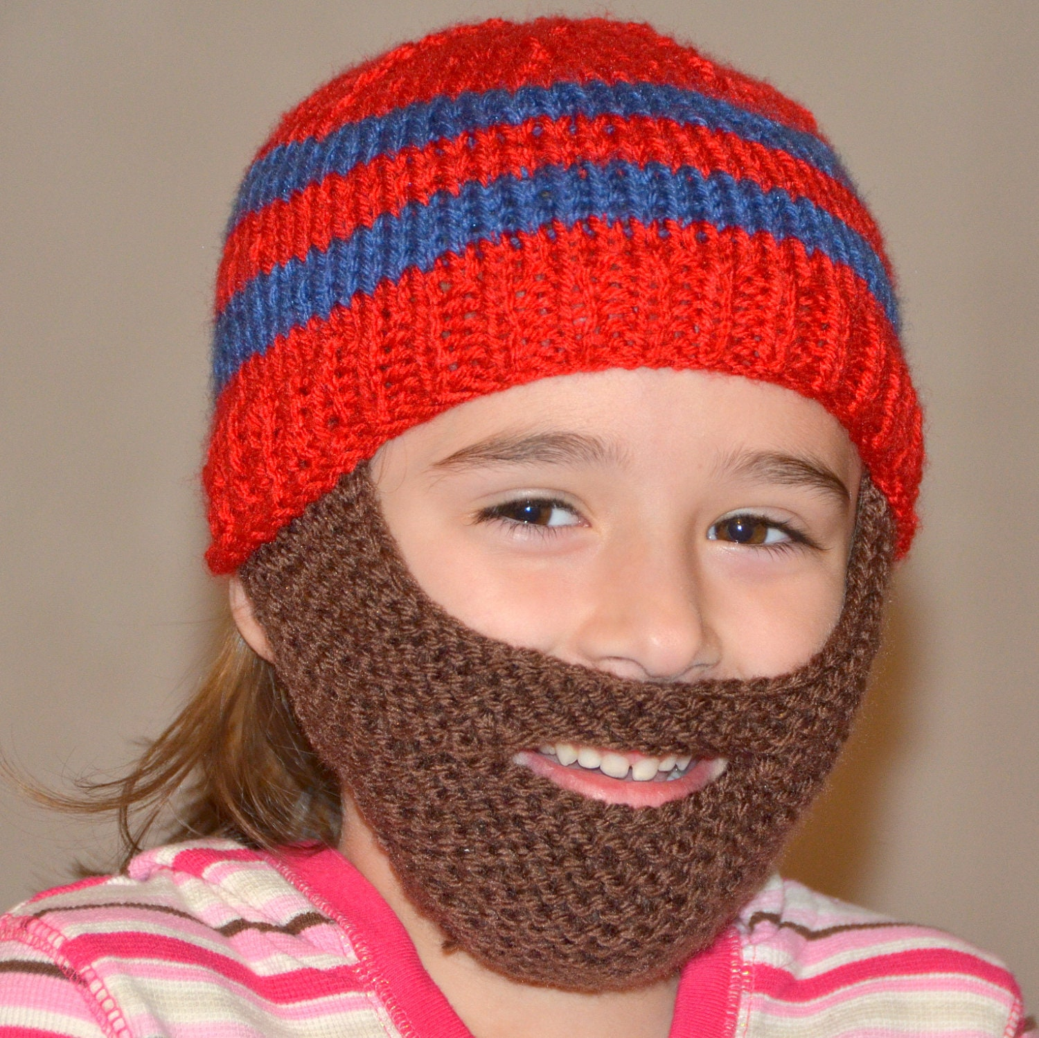 Beard Hat Knitted Beard Beanie Kids-All Sizes All Colors