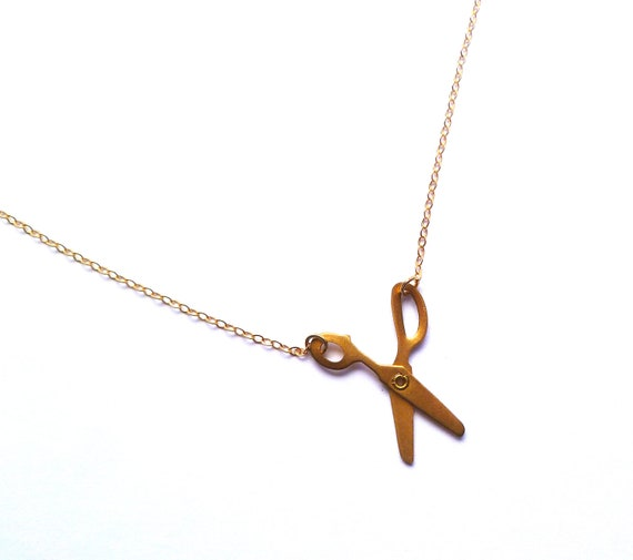 scissor necklace, brass moveable scissors on gold filled chain, minimalist necklace