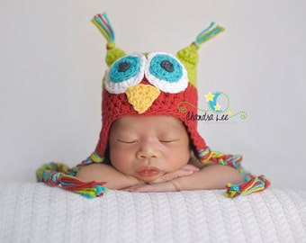FESTIVE Adorable Handmade Owl Hat in Christmas Colors...Photography Prop...You choose the size