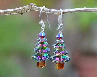 Color changing crystal Christmas tree earrings- sterling silver, green, gold, magenta - free shipping USA