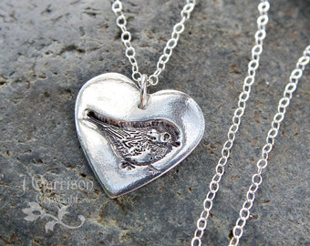 My little chickadee necklace - handmade fine silver heart charm with bird stamp on a sterling silver chain - free shipping in USA
