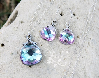 Vitrail Light briolette sterling silver necklace & earring set - pale pink, aqua blue, purple color changing crystals, free shipping USA