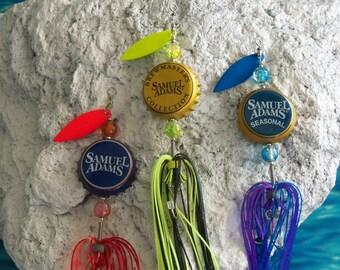 "Birthday Mens Gift ""Samuel Adams"" 3pk.- The Original Spinning Bottle Cap Fishing Lures"