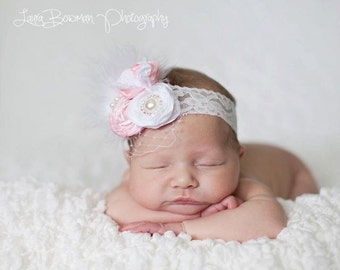 Pink and White Heirloom Lace Elastic Headband  - Photography Prop - Newborn Photos