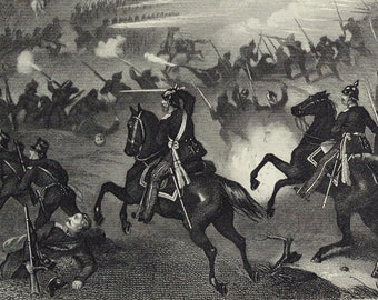 1870s Antique Engraving of the Last Sortie from Paris (Franco-Prussian War)