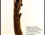 In-Stock, Free USA Shipping, Natural Wood Sculpture No. 2012-08, Historic Kansas Hedge Fence Post, Walnut, Brass, Mixed Media Original