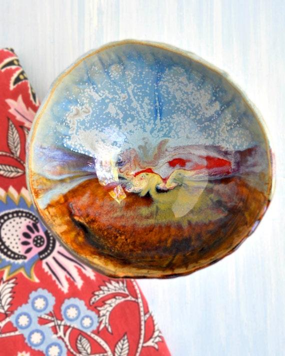 rustic Ceramic Bowl SECONDS sale  Joyful Blaze Urban Rustic vine texture 18 oz