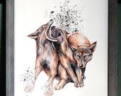 Modern Geometric Wolves Wolf Print - HyperNova - Open Edition Giclee Print -  Sized 14 x 18 - by Simka sol