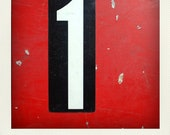 Vintage M Metal Gas Station Price Sign Number - 1 one & 4 four