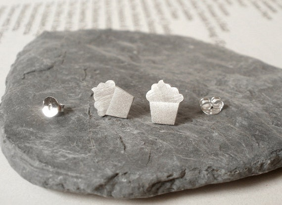 Cupcake Earring Studs In Sterling Silver, Bakery Earring Studs Handmade In The UK
